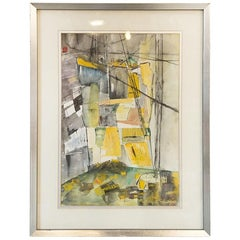 "Rita Holtzman Schwart, Watercolor and Ink Abstract, ""Stone Quarry on a Sunday"""