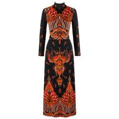 RITA RUSSO c.1970's Black Symmetrical Paisley Signature Print Belted Maxi Dress