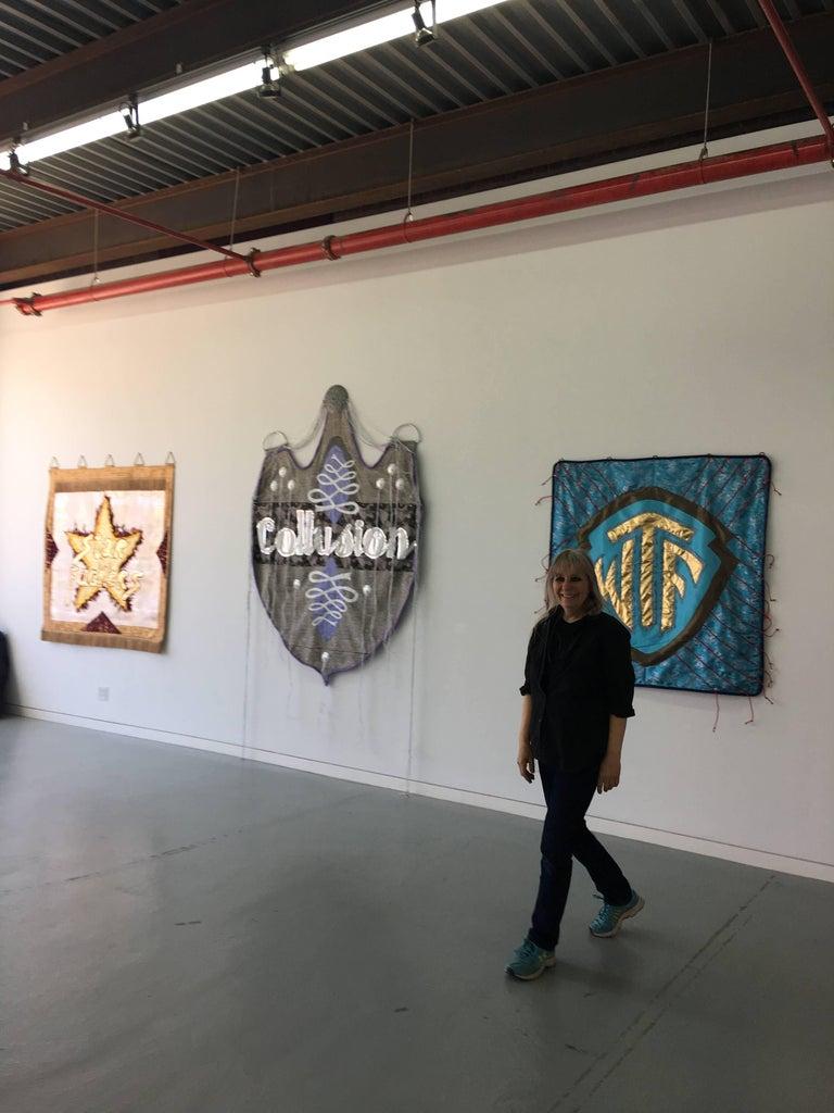 Rita Valley, Collusion, 2018, fabric, plastic, chain, steel, paint, gimp, banner - Pop Art Mixed Media Art by Rita Valley