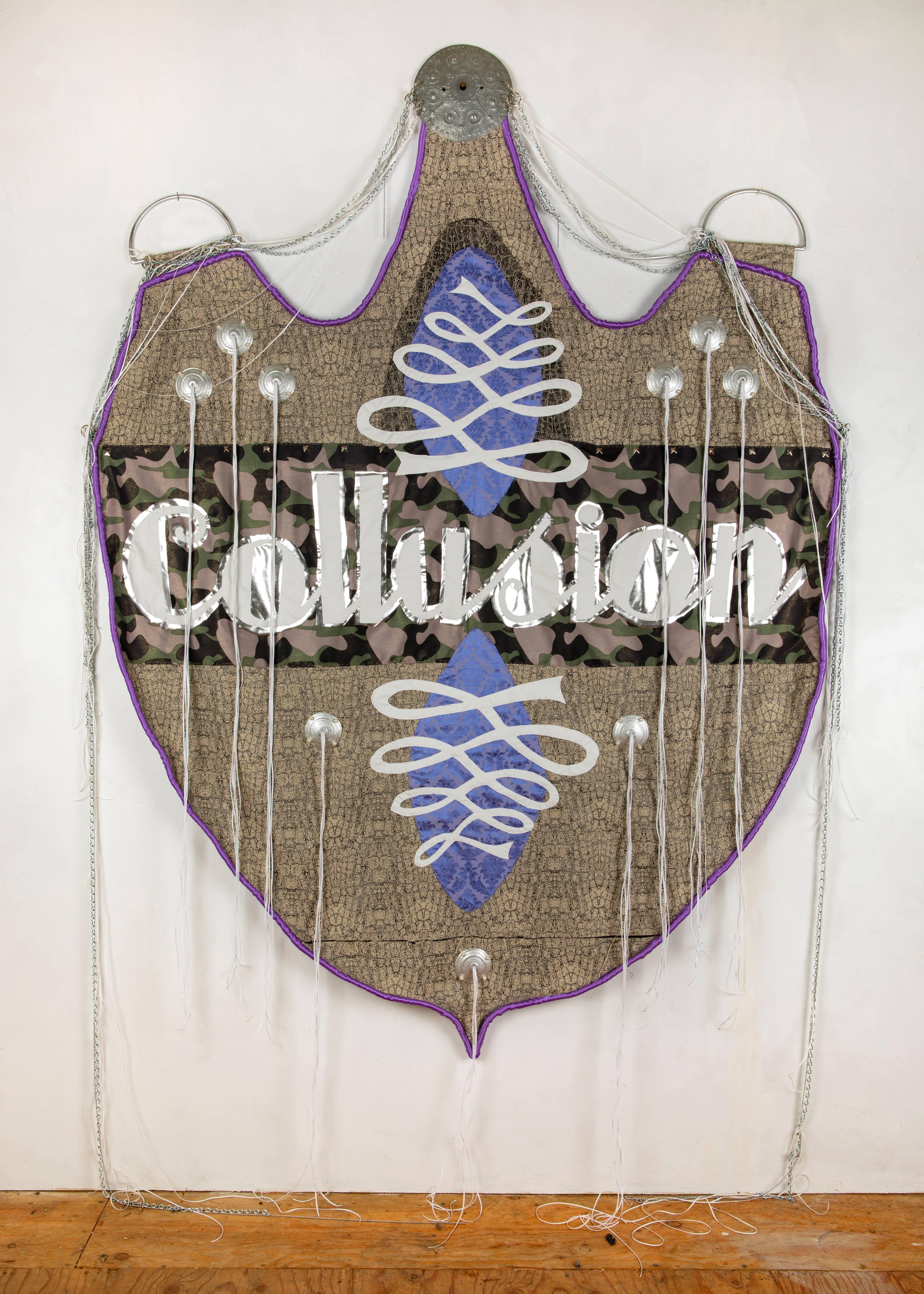 Rita Valley, Collusion, 2018, fabric, plastic, chain, steel, paint, gimp, banner