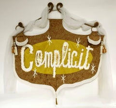 Rita Valley, Complicit, 2017, fabric, vinyl, fringe, steel, paint, banner