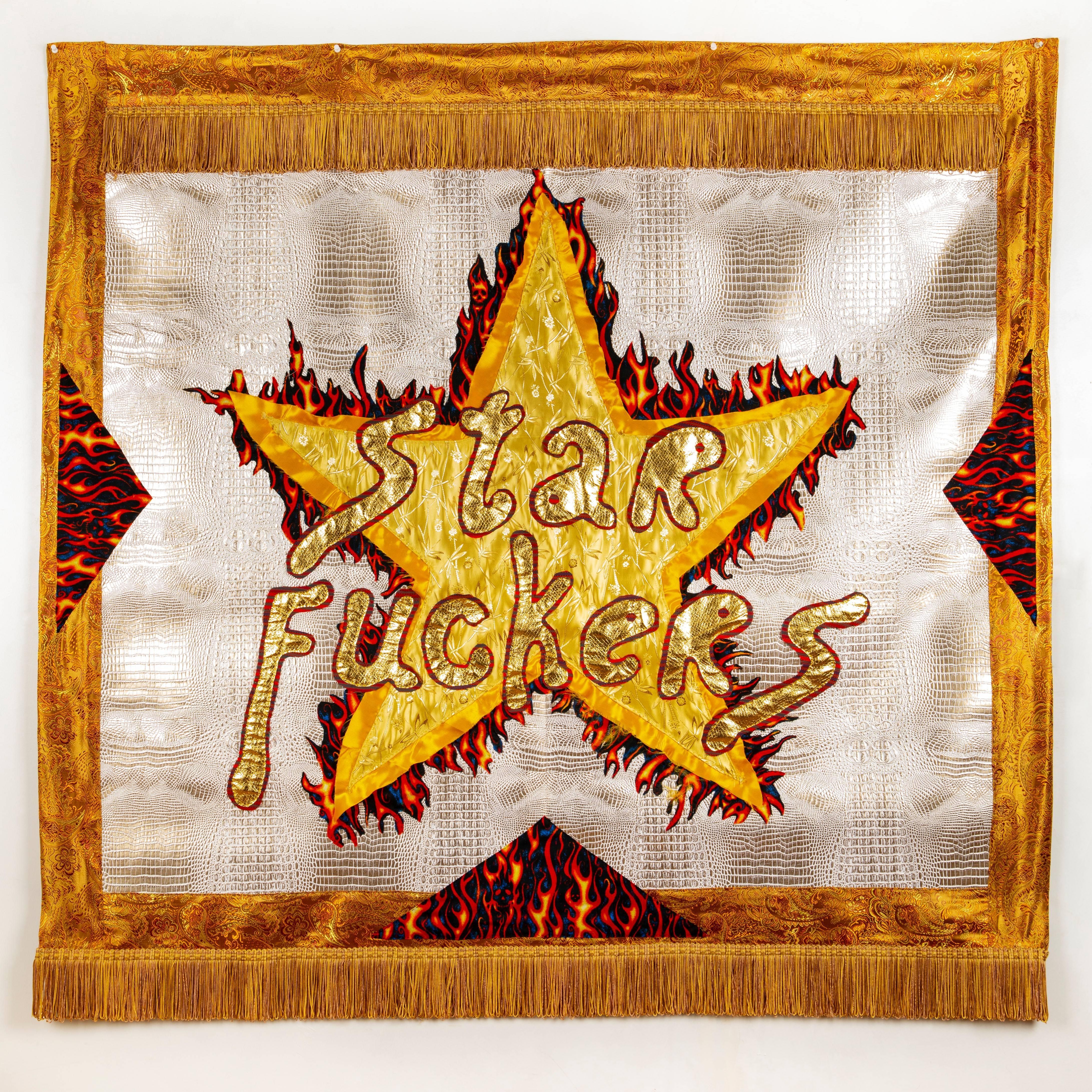 Rita Valley, Star Fuckers, 2018, fabric, pleather, fringe, banner