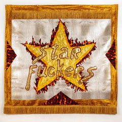 Rita Valley, Star Fuckers, 2018, fabric, pleather, fringe, banner
