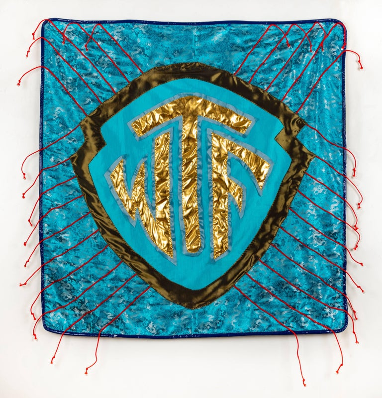 Rita Valley, WTF Pillows, 2018, fabric, pleather, ribbon, 16 x 16 x 4 in - Mixed Media Art by Rita Valley