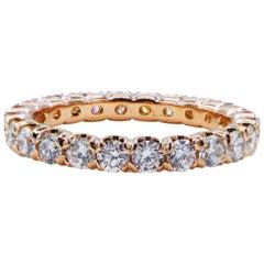Ritani 1.25 Carat Round Brilliant Cut Diamond 18 Karat Gold Eternity Band Ring