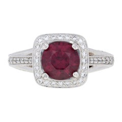 Ritani 2.20 Carat Round Carat Rhodolite Garnet and Diamond Ring 18k Gold Halo