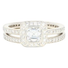 Ritani .93 Carat Asscher Diamond Halo Ring and Wedding Band 950 Platinum