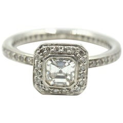 Ritani Asscher Cut 0.42 Carat Diamond Platinum Engagement Ring