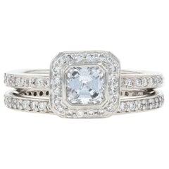 Ritani Diamond Halo Ring and Wedding Band 950 Platinum Asscher .93 Carat
