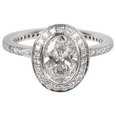 Ritani Halo Diamond Engagement Ring in Platinum GIA Certified G VS2 1.4 Carat