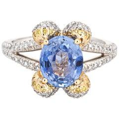 Ritani Natural Cornflower Blue Gemstone Engagement Ring Diamond Platinum