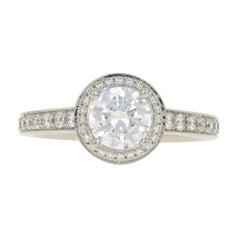 Ritani Semi-Mount Halo Engagement Ring for Round Center, 950 Platinum