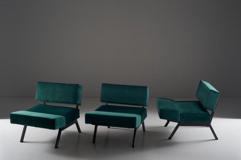 Rito Valla for IPE Bologna Set of Three Armchairs Italian Design, 1960s In Good Condition For Sale In Milan, IT