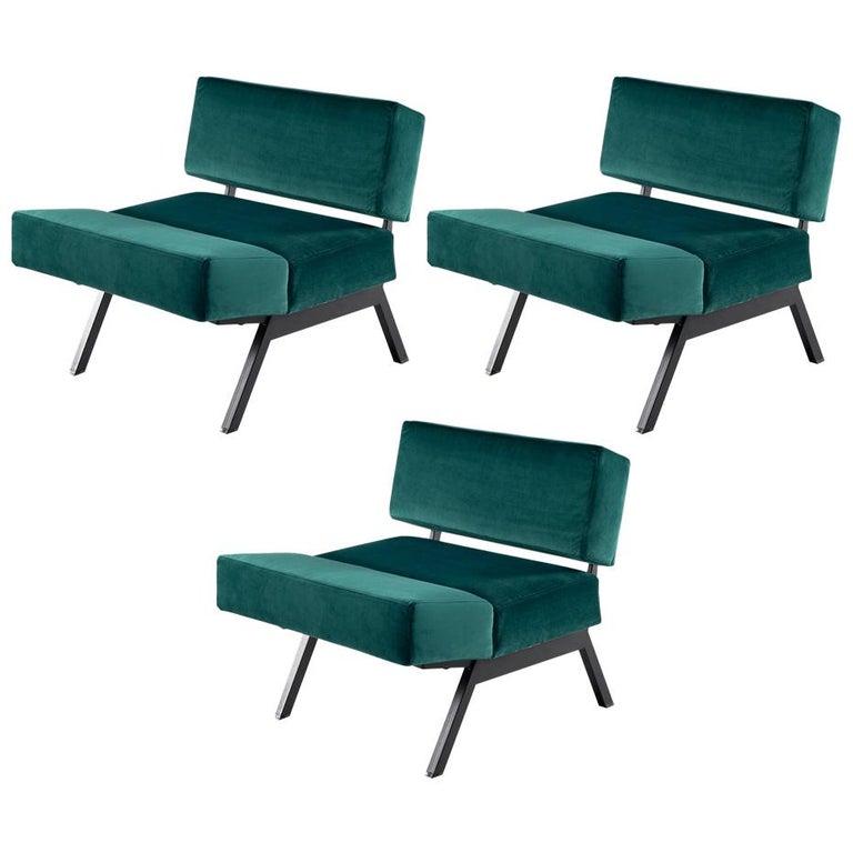 Rito Valla for IPE Bologna Set of Three Armchairs Italian Design, 1960s For Sale