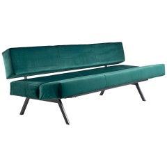 Rito Valla for IPE Bologna Sofa Black Laquered Metal Italian Design, 1960s