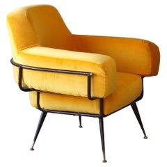 Rito Valla, Lounge Chair, Metal, Brass Yellow Velvet, I.P.E Bologna, Italy 1950s