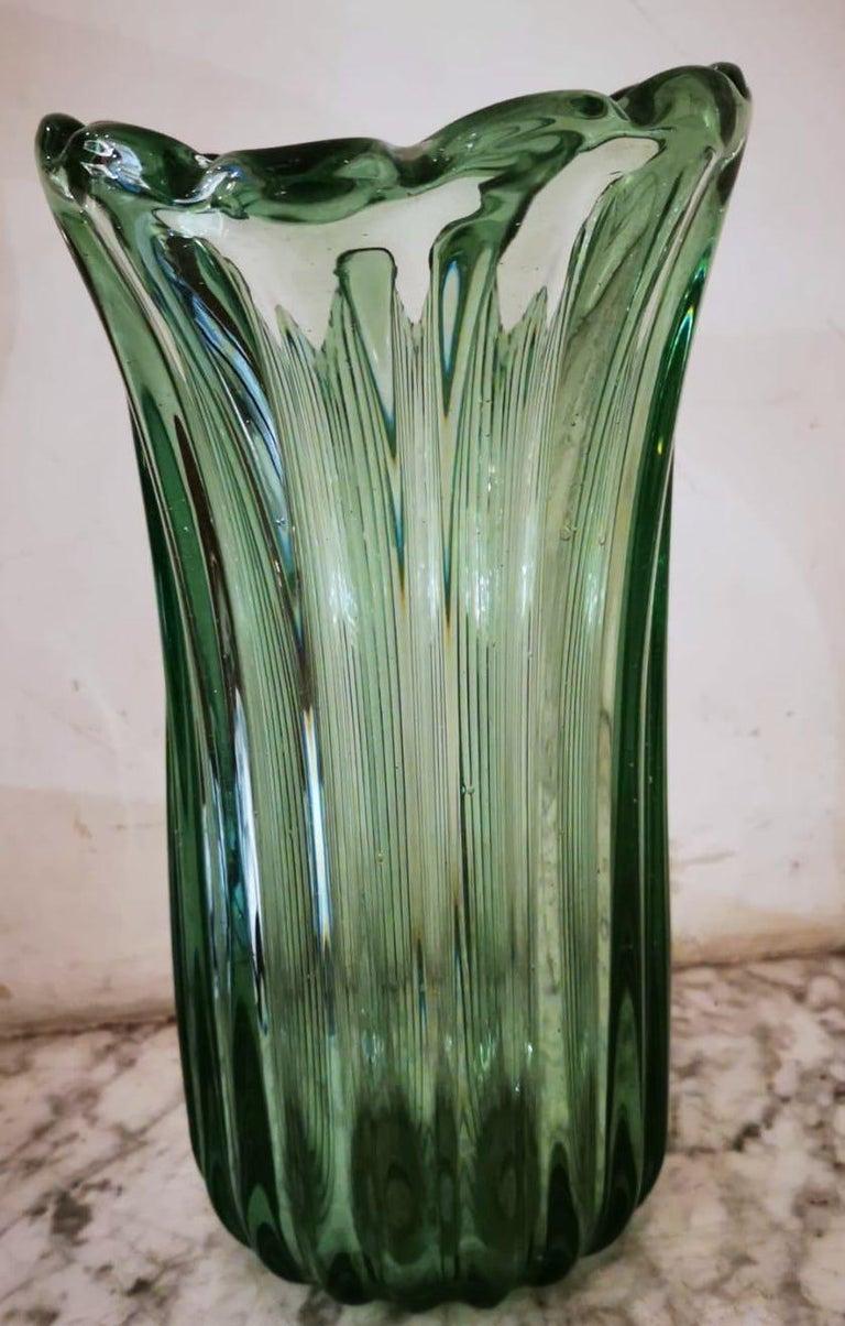 Murano Glass Ritorto A Coste Vase, by Archimede Seguso, Murano, 1950s