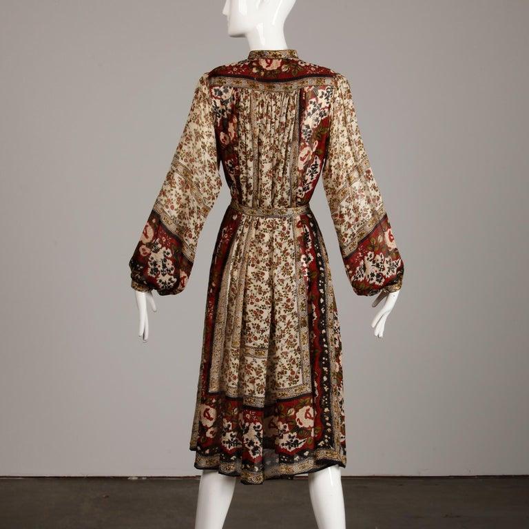 Ritu Kumar for Judith Ann 1970s Vintage 100% Silk Indian Hand-Block Print Dress For Sale 5