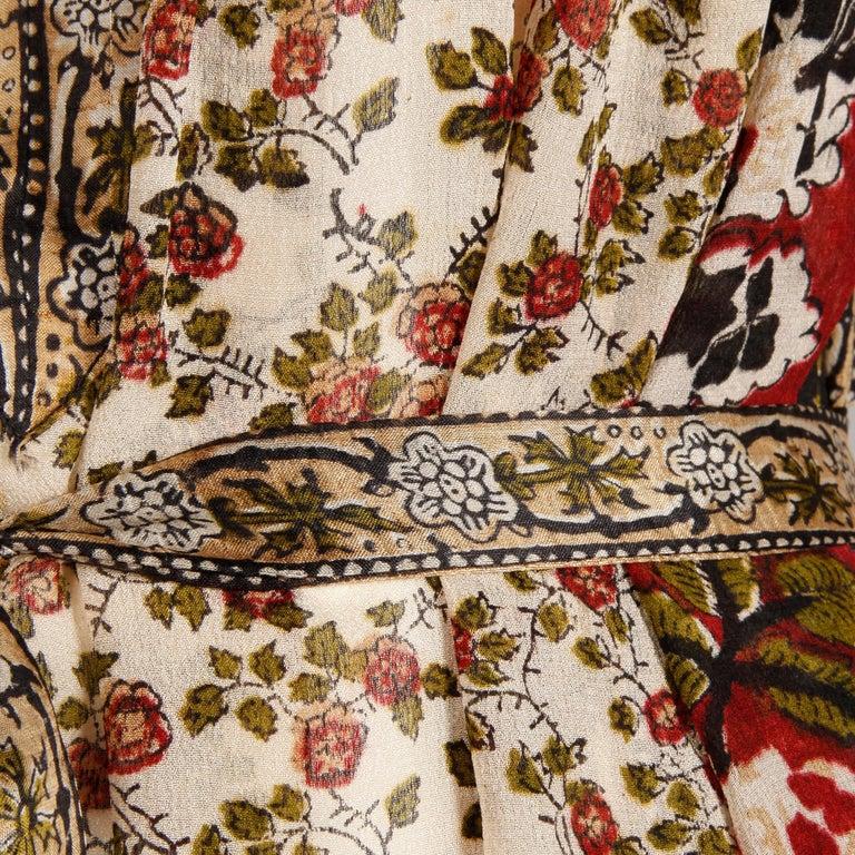Ritu Kumar for Judith Ann 1970s Vintage 100% Silk Indian Hand-Block Print Dress For Sale 7