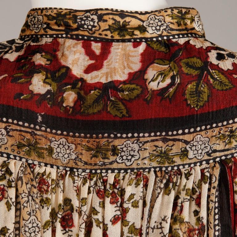 Ritu Kumar for Judith Ann 1970s Vintage 100% Silk Indian Hand-Block Print Dress For Sale 8