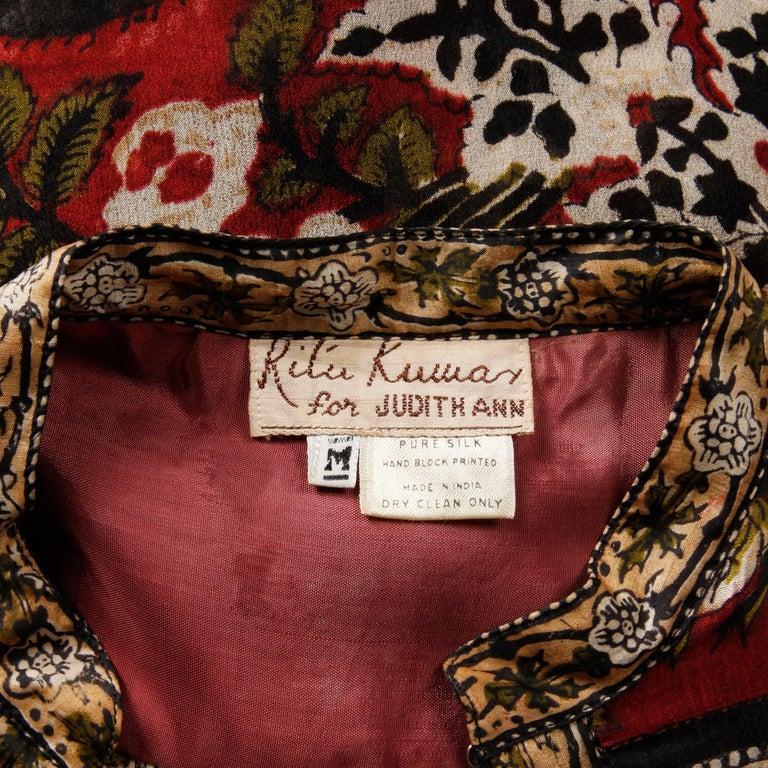 Brown Ritu Kumar for Judith Ann 1970s Vintage 100% Silk Indian Hand-Block Print Dress For Sale