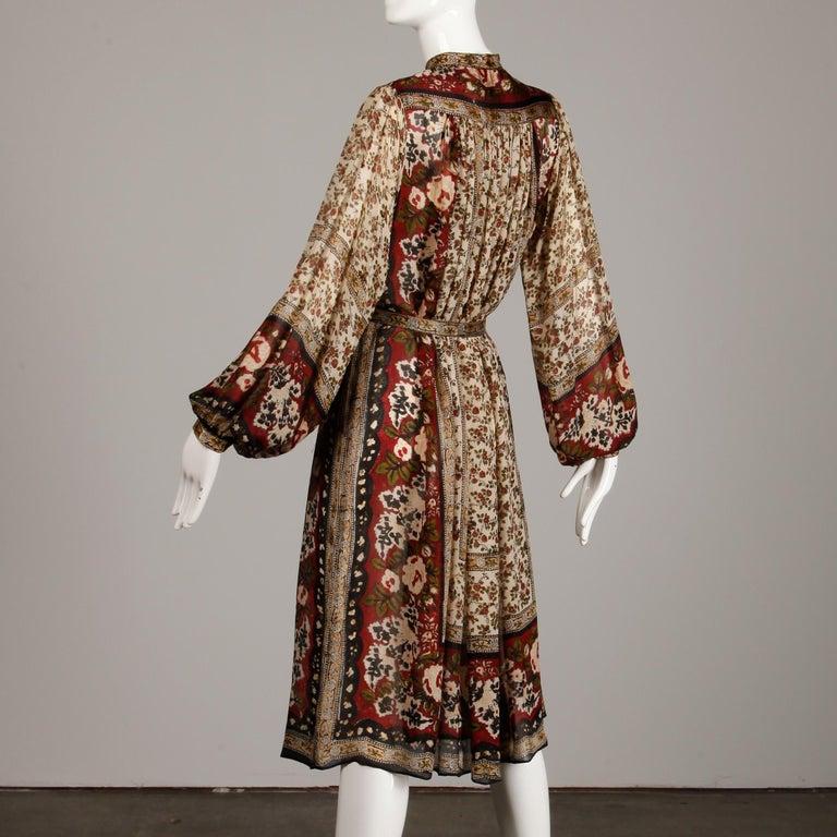 Ritu Kumar for Judith Ann 1970s Vintage 100% Silk Indian Hand-Block Print Dress For Sale 1
