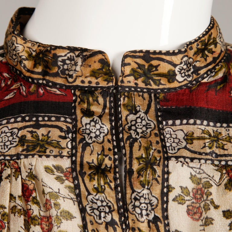 Ritu Kumar for Judith Ann 1970s Vintage 100% Silk Indian Hand-Block Print Dress For Sale 2