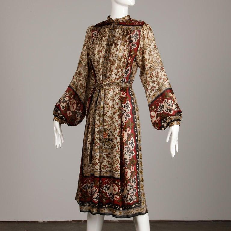 Ritu Kumar for Judith Ann 1970s Vintage 100% Silk Indian Hand-Block Print Dress For Sale 3