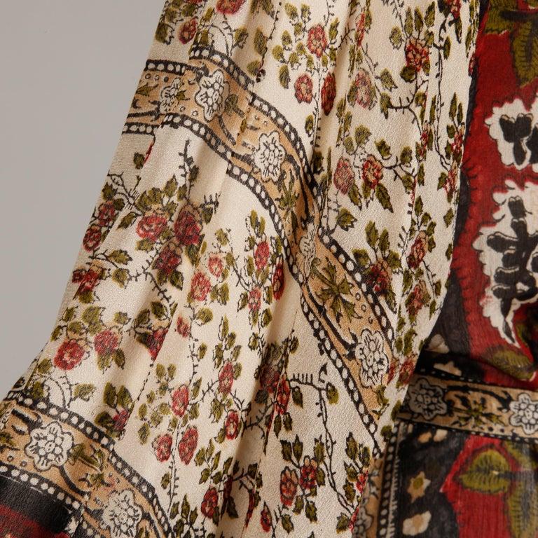 Ritu Kumar for Judith Ann 1970s Vintage 100% Silk Indian Hand-Block Print Dress For Sale 4