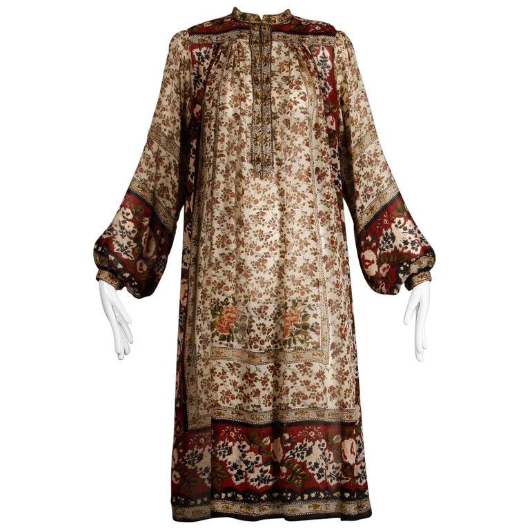 Ritu Kumar for Judith Ann 1970s Vintage 100% Silk Indian Hand-Block Print Dress For Sale