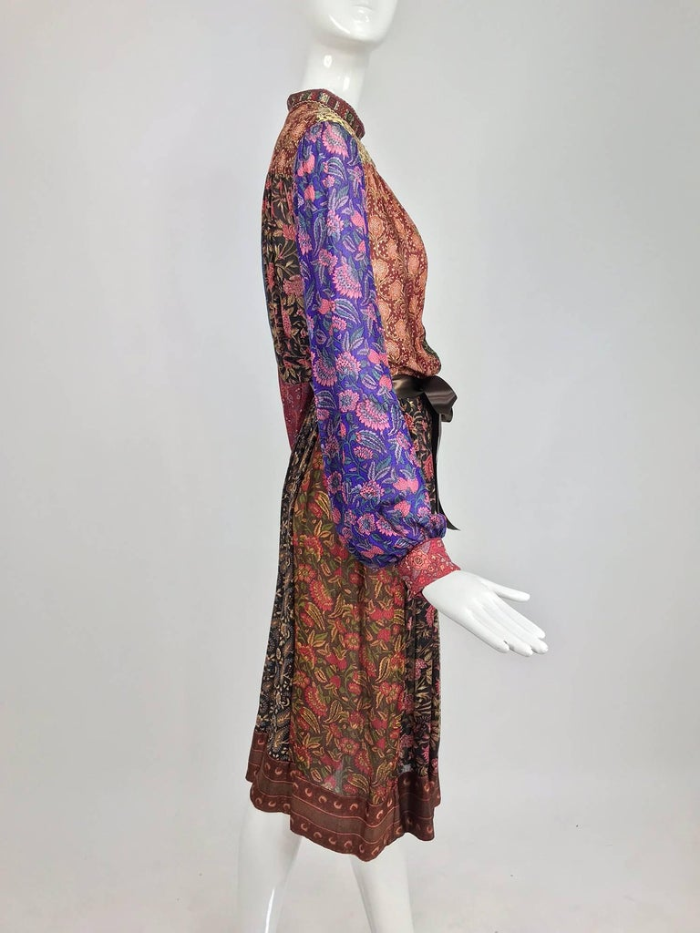 Women's Ritu Kumar for Judith Ann mix print silk dress, 1960s  For Sale