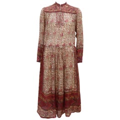Ritu Kumar Indian Hand Block Printed Silk Dress, 1970's
