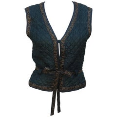 Ritu Kumar Indian Hand Block Printed Silk Vest, 1970's