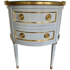 Ritz Carlton Newly Lacquered in Powder Blue with Brass Accents Demilune Chest