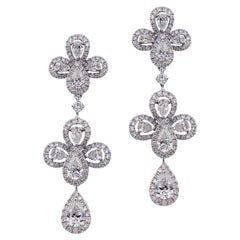 Ritzy 18 Karat White Gold and Diamond Chandelier Earrings