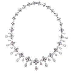 Ritzy 18 Karat White Gold and Diamond Chandelier Necklace