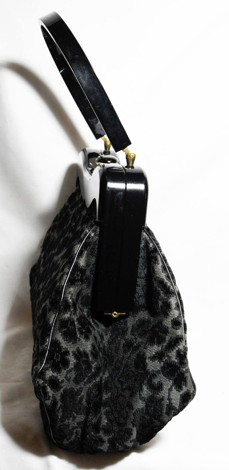 Women's Ritzy Rialto Lucite Black Velvet and Grey Top Handle Vintage Bag