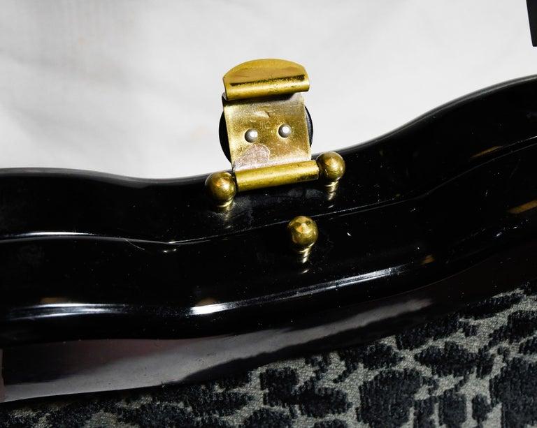 Ritzy Rialto Lucite Black Velvet and Grey Top Handle Vintage Bag 1