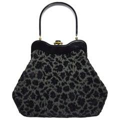 Ritzy Rialto Lucite Black Velvet and Grey Top Handle Vintage Bag