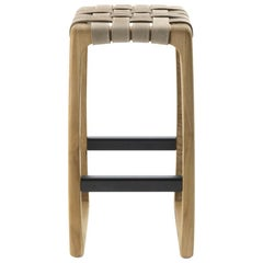 Riva 1920 Bungalow Bar Stool in Solid Wood Structure with Leather Seat