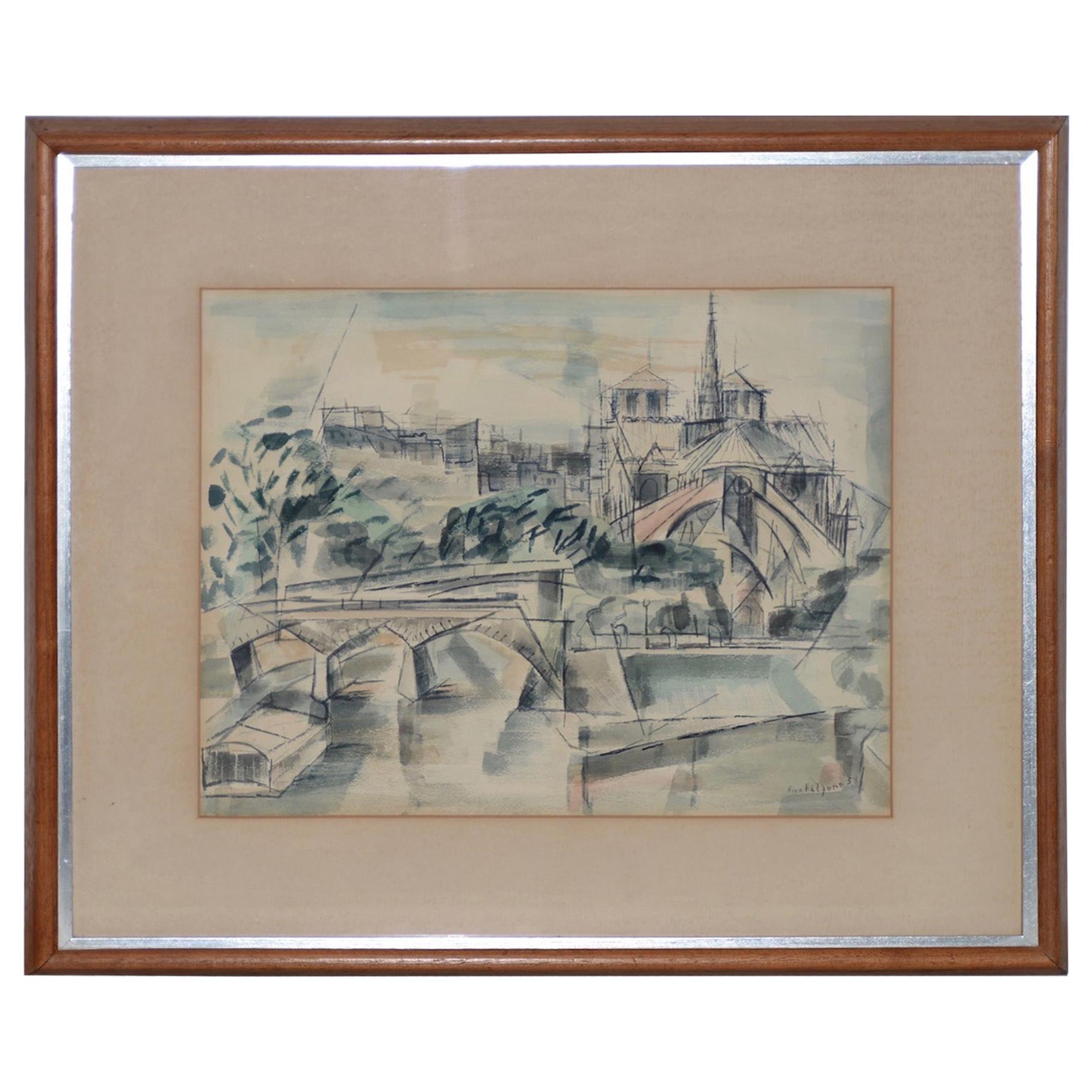Riva Helfond Notre-Dame de Paris Cathedral in Abstract Watercolor, circa 1954