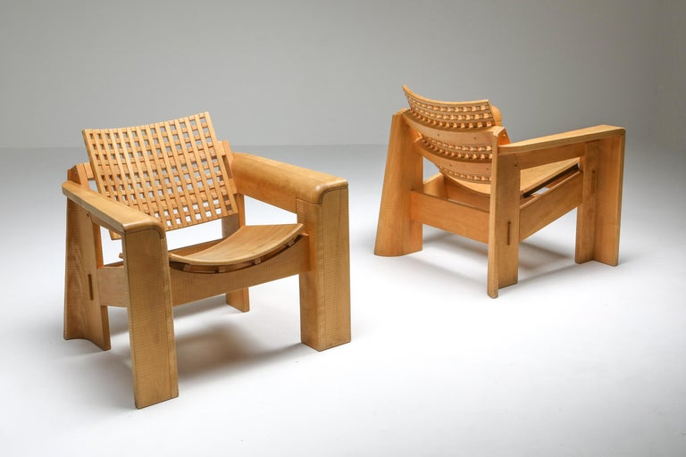 Lounge chairs in elm, Italy, 1980s, Giuseppe Rivadossi