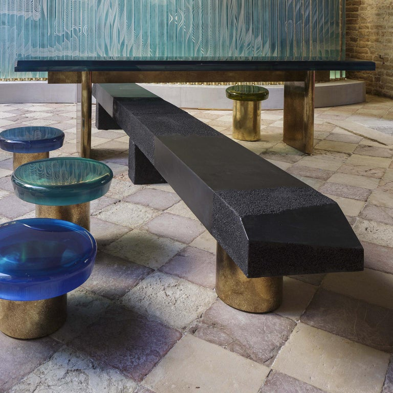 Rive Bench Small by Draga&Aurel Cement and Bronze, 21st Century In New Condition In Como, IT