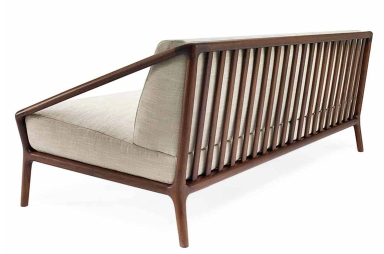 Rive Droite Sofa In Solid American Walnut With Fabric Or