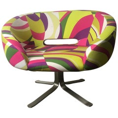 Rive Droite Swivel Lounge Chair by Patrick Norguet for Cappellini, Pucci Fabric
