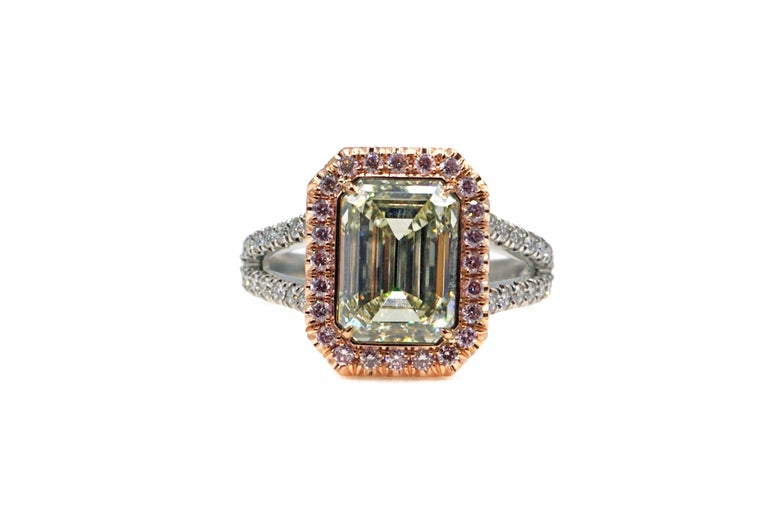 Contemporary Rive Gauche Jewelry 3.46 Carat Natural Fancy Color Diamond Ring For Sale