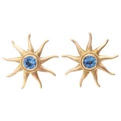 Rive Gauche Jewelry Blue Topaz Sunburst Gold Earrings
