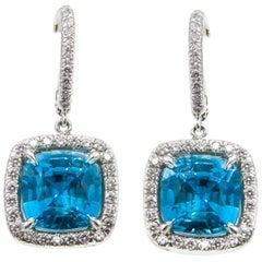 Rive Gauche Jewelry Blue Zircon Diamond Platinum Earrings