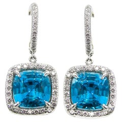 Rive Gauche Jewelry Blue Zircon Diamond Platinum Earrings
