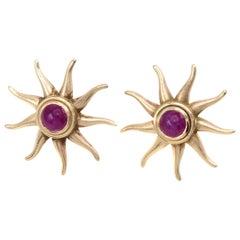 Rive Gauche Jewelry Ruby Gold Sunburst Earrings